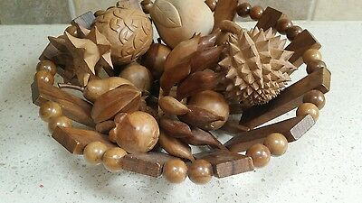 VINTAGE WOODEN HAND CARVED FRUIT AND BOWL  Wood BOHO SHABBY CHIC DECORATIVE
