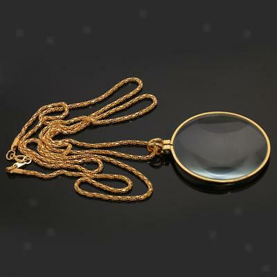 6x Magnifying Glass Pendant Loupe w Golden Link Chain Necklace