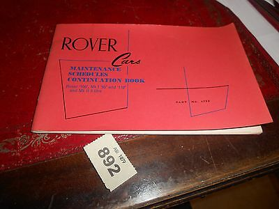 Rover Cars maintenance schedules continuation book unused part n 4758 892