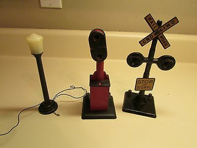 Set of 3 Vintage Toy Train Set Accessory Railroad Crossings and Light