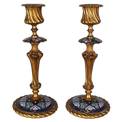 Pair of Gorgeous French Antique Champleve Candlesticks Beautiful Bronze Detail