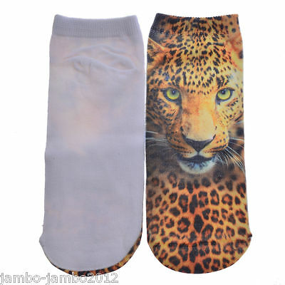UK Sale: Brown LEOPARD Trainer SOCKS; UK Shoe 3-7 CAT Kitten 3D Digital Photo