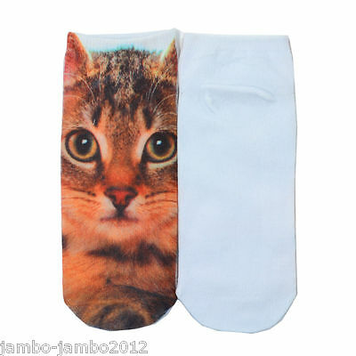 Brown Tortoishell KITTEN Trainer SOCKS UK Shoe 3-7 CAT 3D Digital Photo UKseller