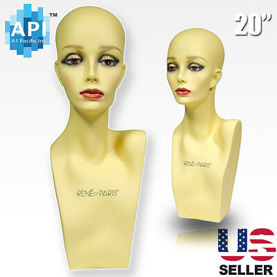"Realistic Plastic Female MANNEQUIN head lifesize display wig hat 20"" PH-20"