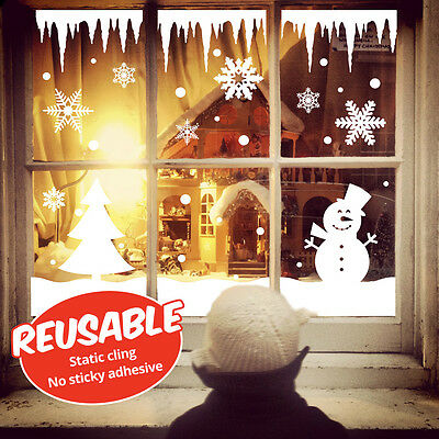 Reusable Christmas Window Snow Scene Decorations, Static Cling Stickers
