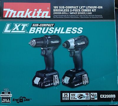 Makita CX200RB LXT 18-Volt Lithium-ion Sub Compact Brushless Cordless 2 Tool Kit