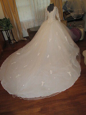 Vtg 60s Princess Ball Gown Wedding Dress 8 ft Detach Train-Tulle organza 10