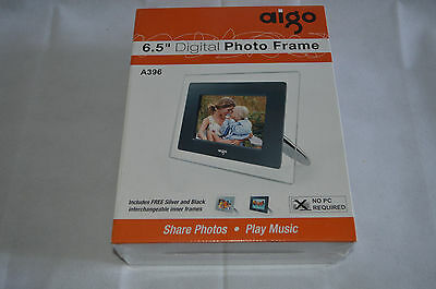 "AIGO 6.5"" DIGITAL PHOTO FRAME WITH BACKGROUND MUSIC FACILITY A396 New & Sealed"