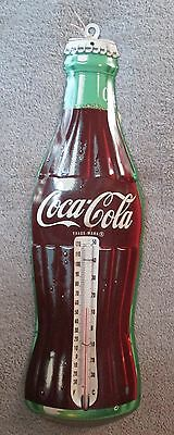 Coca Cola Antique Style Advertising Tin Outdoor Thermometer.  Coke Advertising.