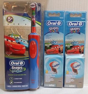 Braun Oral-B Kids Power Electric Rechargable Toothbrush Disney CARS +5 Heads AUS