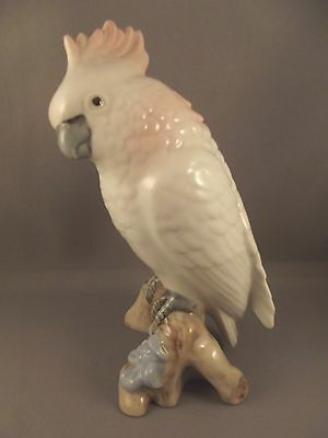Royal Dux Porcelain Cockatoo - Parrot Bird  pink Triangle mark to base + label