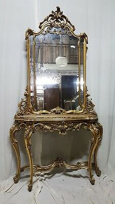 Beautiful Antique French Baroque Louis XIV Gilt Wood Console Table with Mirror