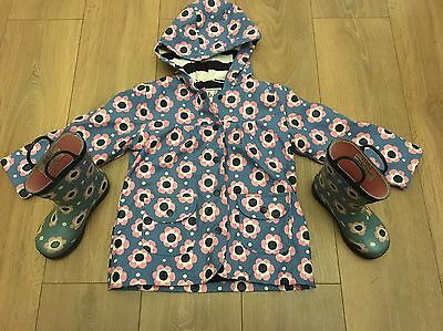 Girls Hatley Raincoat Age 4 With Matching Wellington Boots Size 10