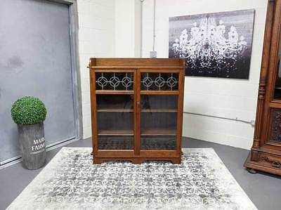 Limberts Arts + Crafts Solid Oak Two Door Bookcase With Leaded Glass Doors