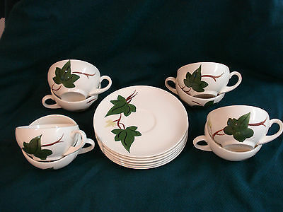 1940s Blue Ridge Pottery BALTIC IVY 7 CUPS & SAUCERS + 1 cup PERFECT CONDITION