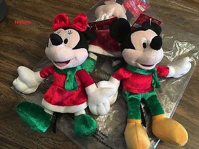 "Disney Holiday Collectors 8"" Plush Christmas Minnie &/or Mickey Mouse NEW KCare"