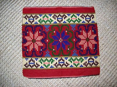 Hand Embroidered Wool Textile Fabric Wall Hanging Multi-Color Ethnic Tribal