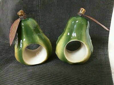 Russ Ceramic Green Pear Fruit Individual Napkin Holder Hand Painted Vintage