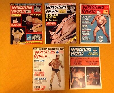 Official Wrestling Magazine Lot of 5 Vintage Issues 1964
