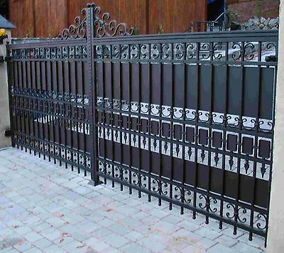 Wrought iron handmade driveway gate made to measure by Celeb Iron Gates