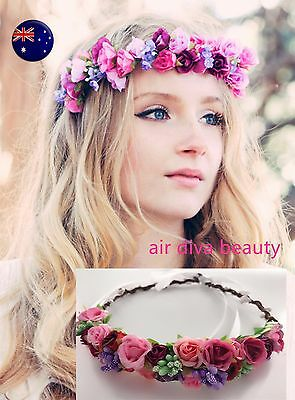 Women Pink flower Girl child Bride Party Hair Floral Headband Prop Garland lace