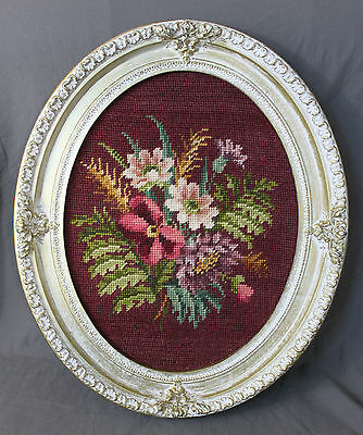 Vintage Ornate Large Oval Frame Finished Needlepoint Floral Bouquet Flowers