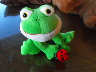 """Frog with Rose stuffed animal toy Russ Shining stars 12"""" x 10"""""""