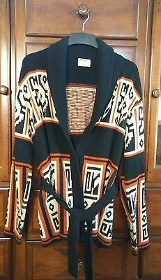 Vtg Big Lebowski Sweater Cardigan Tribal Cowichan Shawl Collar EXC USA 70s M/L