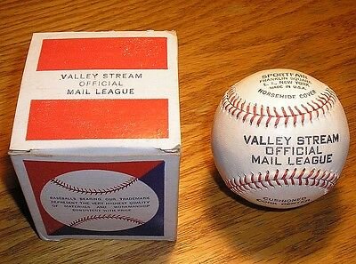 Vintage 1940's-50's Baseball, Valley Stream Mail League, Mint, Original Box