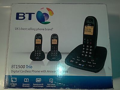 BT1500 Trio Digital black Dect Cordless Telephone With Answer Machine brand New