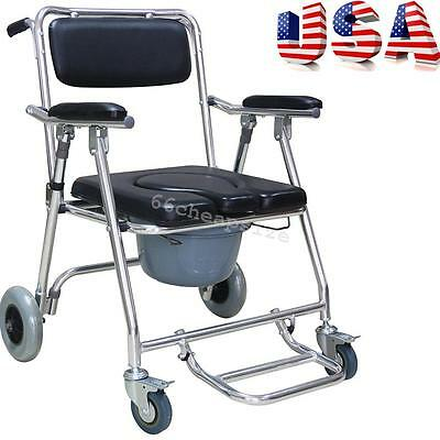 USA* Shower Commode Wheelchair Toilet Chair Removable Aluminum Rolling 4 Brakes