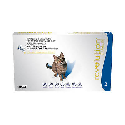 Revolution Cat Blue Worm & Flea Treatment for Cats 3 & 6 Packs