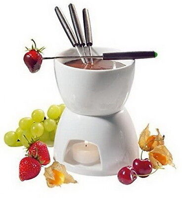 Ceramic Chocolate Cheese Fondue Set 4 Forks Stainless Forks Home Kitchen AU