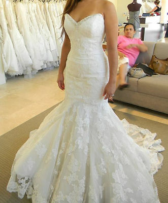 White/Ivory Mermaid Lace Wedding Dress Bridal Gown Custom Size:6 8 10 12 14 16