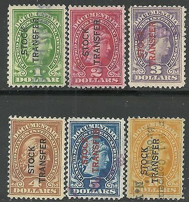 us revenue stock transfer stamps - 6 different stamps