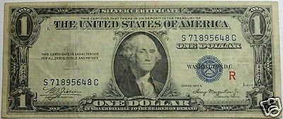 "1935A SILVER CERTIFICATE Fr 1609 - EXPERIMENTAL ""R"" (RED), FINE CONDITION"