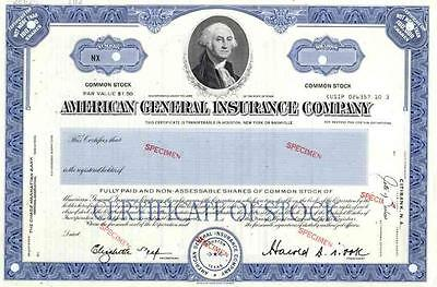 American General Insurance Co Specimen Stock Certificate