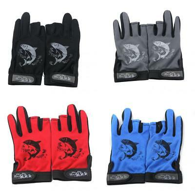 Waterproof Hunting Fishing Gloves 3 Cut Finger Anti-Slip Protector Tackle Mitts