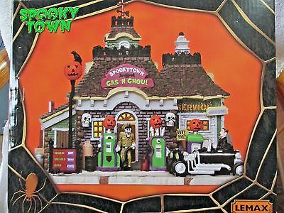 Lemax Spooky Town Halloween Gas N Ghoul Service Station Lighted 2011 #15194
