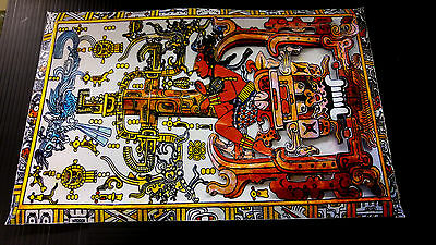 Ancient Aliens Lord Pacal in Spaceship Art in 3-D poster leather like feel 11x17