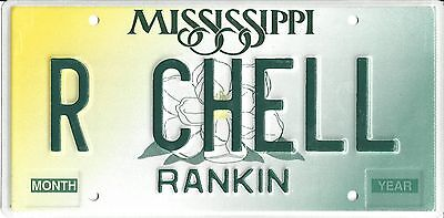 Mississippi Undated (2003) Vanity License Plate - Rankin County - R CHELL