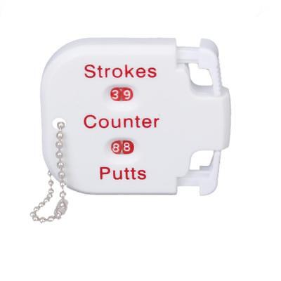 White Plastic Golf Strokes Shot Putts Score Counter with Key Chain