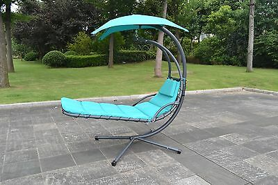 Hanging Chaise Lounger Chair Arc Stand Air Porch Hammock Swing Chair 1000 Teal