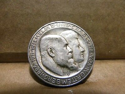 Germany 1911-F German States Wurttemberg 3 Silver Mark Coin