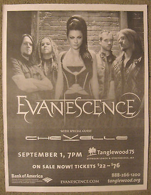"""Evanescence-""""2012 Tour News Advert"""" Chevelle-Amy Lee-Ben Moody-Rock Music-Great!"""