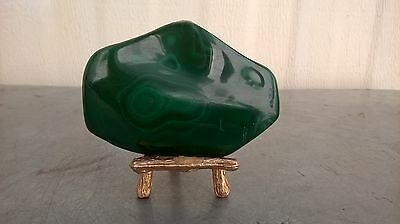 222 grams Malachite with paint gold the stents