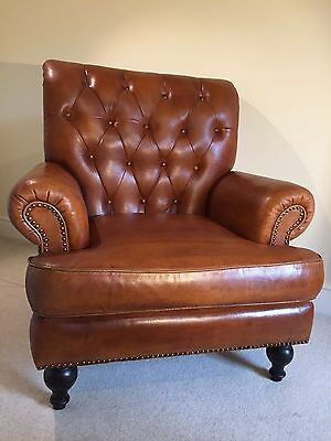 Vintage leather Button Back armchair
