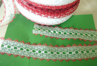 Eyelet/knitting in/coathanger lace10 metres x 3.8cm wide white/red edging