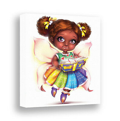 Book Fairy Girl African American Art Dark Skin Girls Room Decor Canvas Wall Art