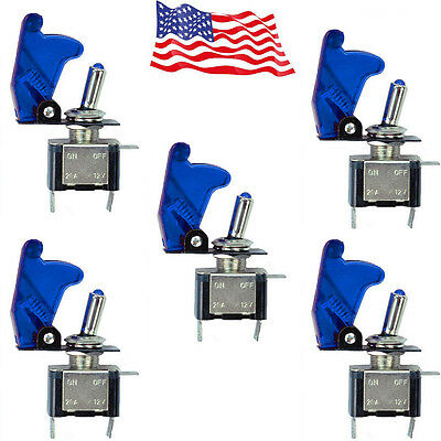 5 Pcs 12V Blue LED Light Cover SPST Toggle Switch Switches Control  For Car Boat